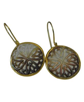 925 Sterling Silber - Perlmutt Ohrringe - Vergoldet -Mandala-