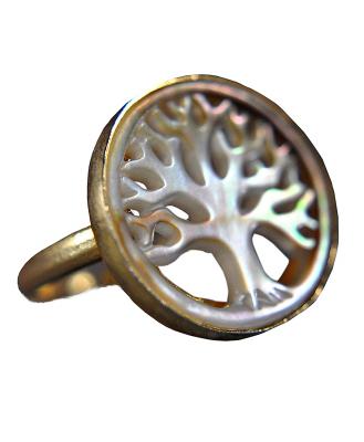 Perlmutt Ring - 925 Sterling Silber - Vergoldet - Lebensbaum