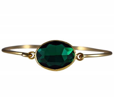 Smaragdgrüner Armreif aus vergoldetem Messing -oval-