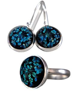 Geschenkset mit echten Blüten - Geschenkservice inkl. - Personalisiert - 925 Sterling Silber - Ohrringe und Ring - Schmuckset