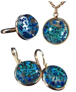 Geschenkset mit echten Blüten - 925 Sterling Silber - Geschenkservice inkl. - Personalisiert - Ohrringe, Kette und Ring - Schmuckset