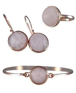 Geschenkset - 925 Sterling Silber- Geschenkservice inkl. - Personalisiert - Rosenquarz Ohrringe, Ring und Armreif  Rosévergoldet