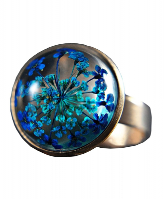 Ring mit echten blauen Blüten Roségold