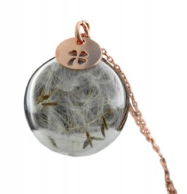 925 Silber - Echte Pusteblume Kette-Roségold Glück